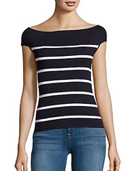 Saks Fifth Avenue Bateau Neck Stripe Sweater Classic Navy