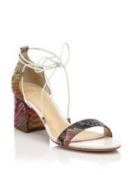 Alexandre Birman Rainbow Python Lace Up Mid Heel Sandals
