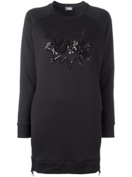 Karl Lagerfeld Sequin Embroidery Dress Black