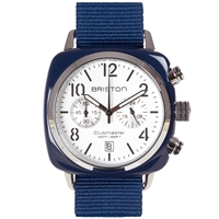 Briston Clubmaster Chronograph Watch Navy White And Silver