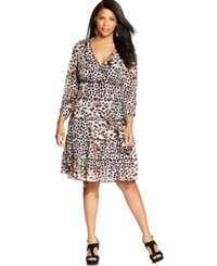 Style And Co. Plus Size Tiered Animal Print Dress Soft Leopard