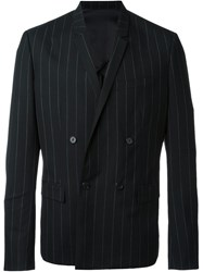Juun.J Pinstriped Double Breasted Blazer Black