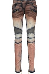 Balmain Tie Dyed Moto Style Mid Rise Skinny Jeans Multi