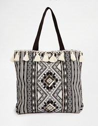 New Look Tassel Printed Shopper Bag Black Pattern