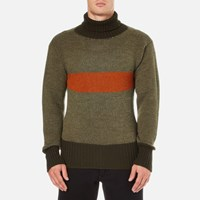 Nigel Cabourn Men's 3 Guage Striped Roll Neck Jumper Army Orange Green