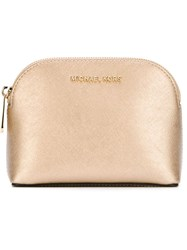 Michael Michael Kors Gold Tone Hardware Make Up Bag Metallic