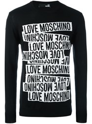 Love Moschino Logo Print Long Sleeve Sweater Black