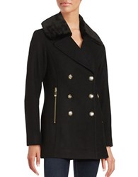 Vince Camuto Faux Fur Collared Double Breasted Peacoat Black