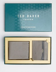 Ted Baker Wallet And Cardholder Gift Set In Leather Brown