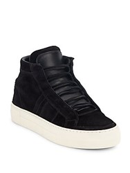 Helmut Lang High Top Leather Flatform Sneakers Black