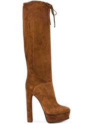 Casadei Wide Leg Knee High Boots Brown
