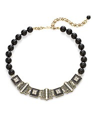 Heidi Daus Beaded Geometric Crystal Collar Necklace Black