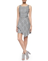 3.1 Phillip Lim Plaid Tank Dress With Uneven Fringe Hem