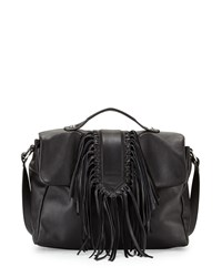 Sam Edelman Michelle Leather Fringe Satchel Bag Black
