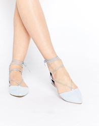 Call It Spring Cinnabar Light Blue Lace Up Ghillie Flat Shoes Blue