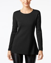 Alfani Ribbed Trim Peplum Sweater Only At Macy's Deep Black