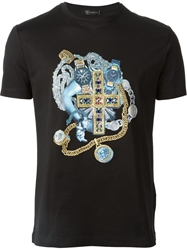 Versace Sequin And Embroidery Printed T Shirt Black