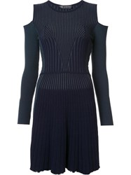 Versace Cut Out Shoulder Ribbed Dress Green