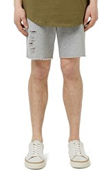 Men's Topman Ripped Cutoff Jersey Knit Shorts