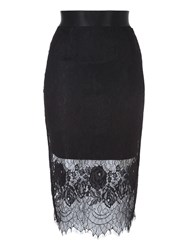 Jane Norman Black Lace Layered Pencil Skirt Jet
