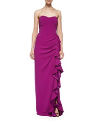 Badgley Mischka Strapless Layered Ruffle Gown Orchid