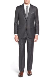 Men's Big And Tall Hickey Freeman Classic Fit Windowpane Wool Suit Medium Grey