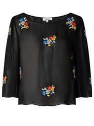 Alice By Temperley Somerset Floral Embroidered Top Black