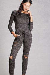 Forever 21 Distressed Marled Knit Jumpsuit