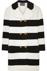 Boutique Moschino Striped Stretch Wool Coat Off White