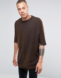 Asos Super Oversized T Shirt With Drawcord Hem In Heavy Jersey With Acid Wash Brown