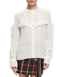 Magda Butrym Bruges Long Sleeve Ruffle Silk Blouse Cream