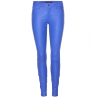 J Brand Super Skinny Leather Trousers Electric Blue