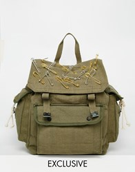 Reclaimed Vintage Military Backpack With Safety Pins Green