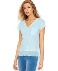 Sanctuary Short Sleeve Layered Look Top Ice Blue