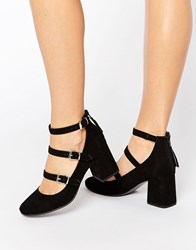 Office Marty Multi Strap Mid Heeled Shoes Black Microsuede