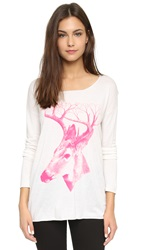 Tess Giberson Deer Sweater White Neon