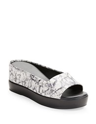 French Connection Marble Effect Leather Platform Sandals Black White