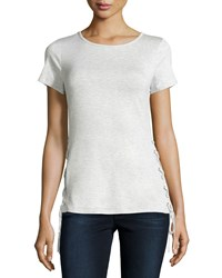 Neiman Marcus Lace Up Boat Neck Tee New Light Heather Gray