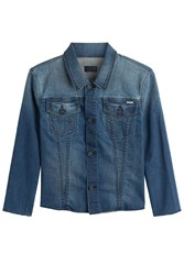 Mother Cropped Sleeve Jean Jacket Blue