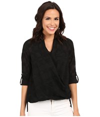 Kut From The Kloth Imani Long Sleeve Top Black Women's Long Sleeve Button Up