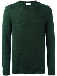 Closed Ribbed Crew Neck Sweater Green