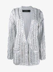 Filles A Papa Cable Knit Sequin Embellished Cardigan Silver