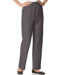 Alfred Dunner Petite Pants Pull On Straight Leg Grey