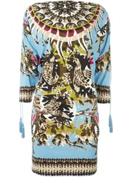 Roberto Cavalli 'Day Dream' Batwing Sleeve Dress Blue