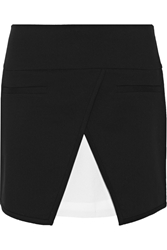 Tibi Wrap Effect Stretch Twill Mini Skirt Black