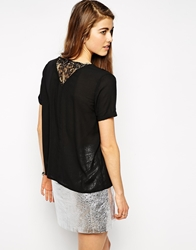 Y.A.S Short Sleeve Blouse With Lace Back Black