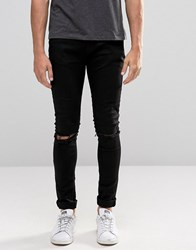 Criminal Damage Super Skinny Jeans With Knee Rips Black