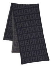 Fendi Logo Knit Wool Scarf Blue Beige