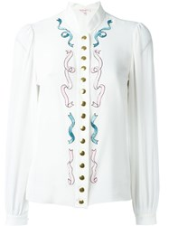 Olympia Le Tan Embellished Blouse White