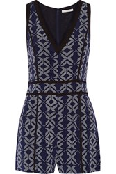 Rebecca Minkoff Rover Printed Silk Playsuit Blue